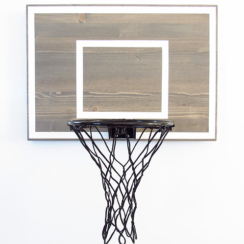 Weathered Gray Wood Basketball Hoop with White Ref Boxes