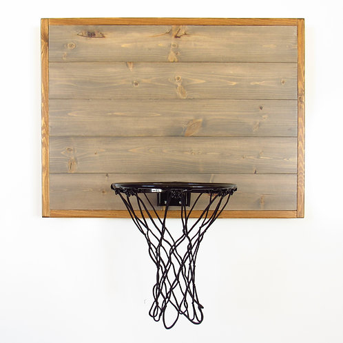 Weathered Gray Wall Basketball Hoop Brown Frame