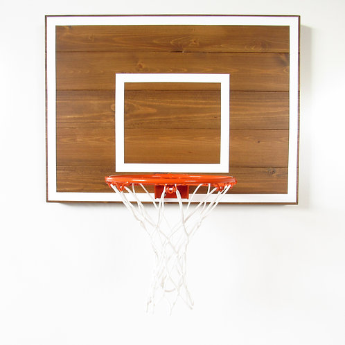 Classic Brown Wood Basketball Hoop with White Lines