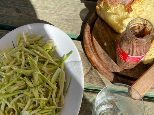 Puntarelle alla romana, abundant anchovies & a good slapping.