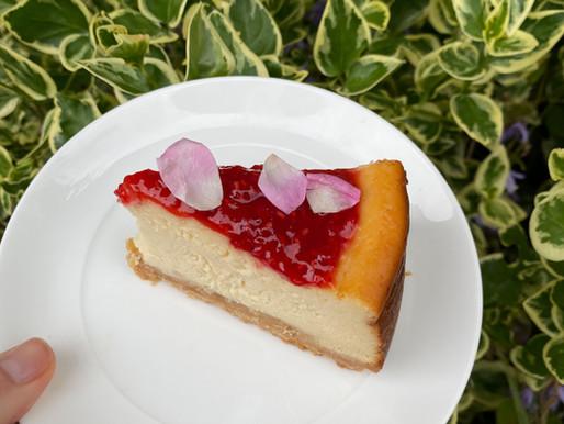 Baked Ricotta, Raspberry & Rose Cheesecake