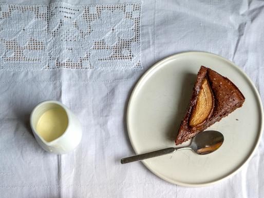 Chocolate, Poached Pear, Brown Sugar & Hazelnut Cake