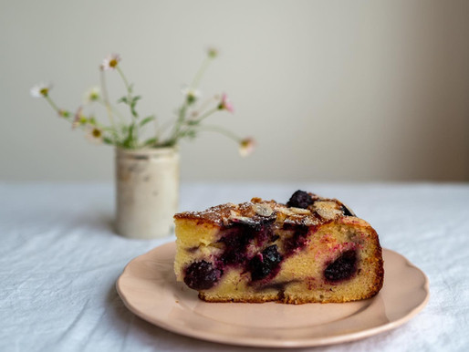 Cherry, Ricotta, Olive Oil & Almond Cake