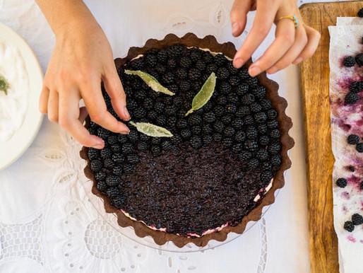 Blackberry, Sage, Mascarpone & Chocolate Tart