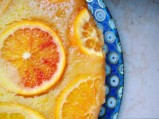 Blood Orange, Ricotta, Olive Oil & Polenta Cake