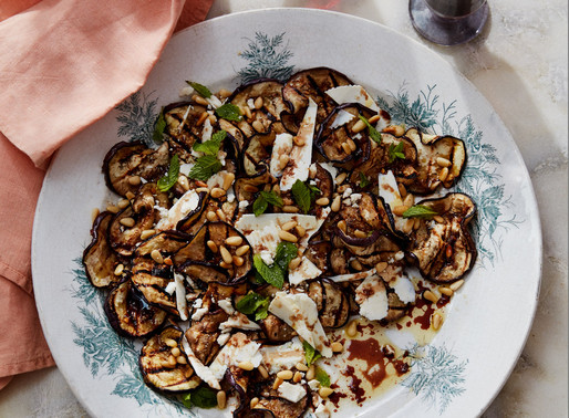 Grilled Aubergines, Saba, Pine Nuts, Ricotta Salata and Mint