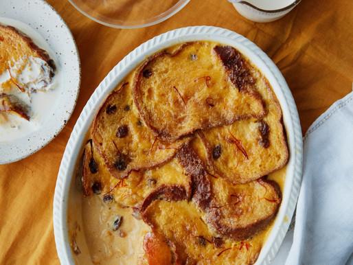 Saffron, Orange, Panettone Bread & Butter Pudding
