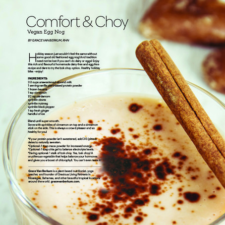 """Gracious Living Vegan Egg Nog"" in Sweat Equity Magazine"