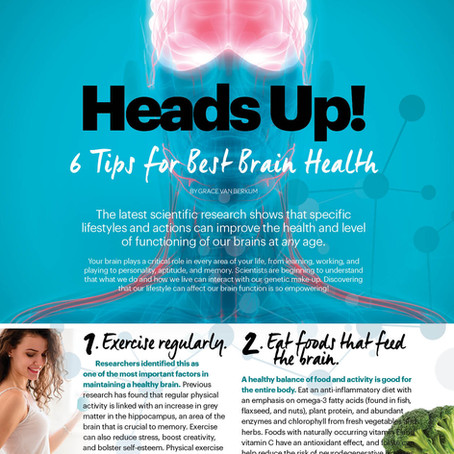 """6 Tips For Best Brain Health"" by Grace Van Berkum, R.H.N. in Sweat Equity Magazine"