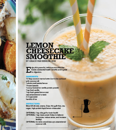 GLO Lemon Cheesecake Smoothie in SWEAT RX MAG