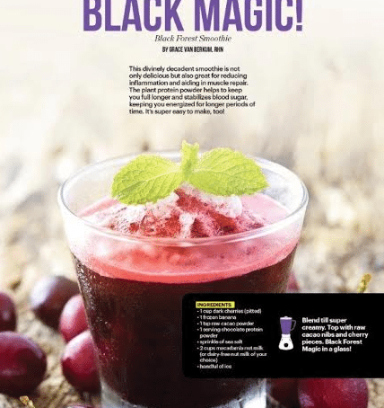 """Gracious Living """"Black Forest Cake"""" Smoothie in SWEATRX Mag"""