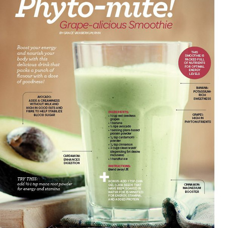 """Gracious """"Grape-a-licious"""" Plant Powered Smoothie in Sweat Equity Magazine"""