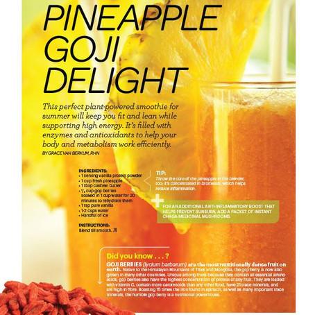 Gracious Living Pineapple Goji Delight in Sweat Equity Magazine