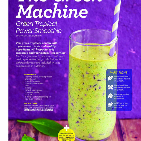 """""""Gracious Living Green Machine Smoothie"""" in Sweat Equity Magazine"""
