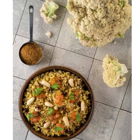 """GLO Raw Cauliflower Biryani"" published in the SALT Mauritius Cookbook"