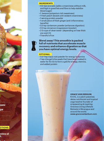 Gracious Living Peaches & Cream Smoothie in SWEATRX Mag