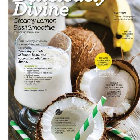 GLO Creamy Lemon Basil Smoothie (raw, vegan)