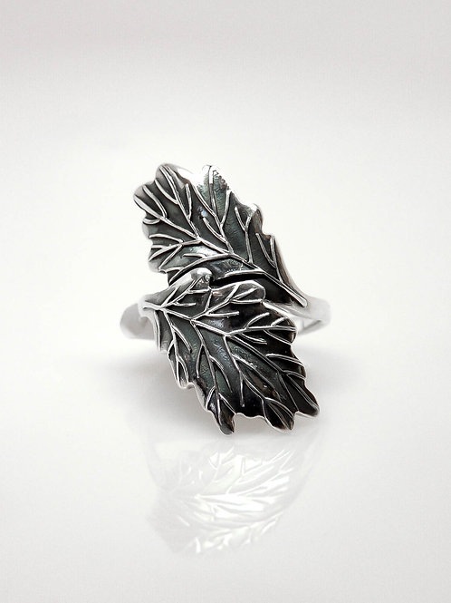 Sterling Silver Double Oak Leaf Ring