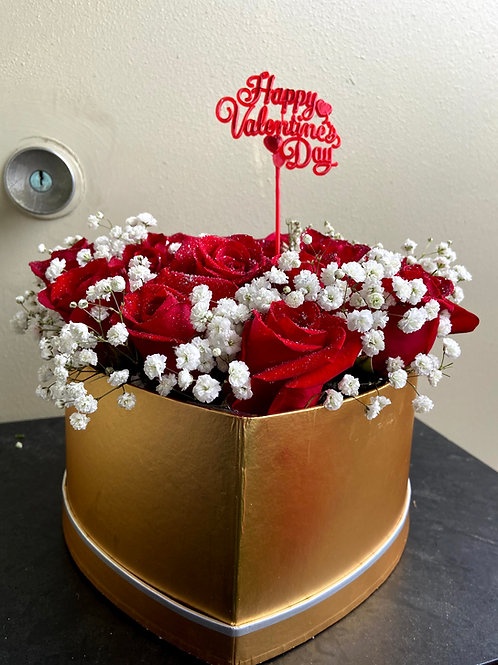 Red Ros with Baby's Breath Arrangement including heart box