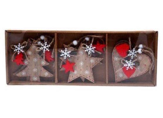 Box Set 6 x Wooden Decorations