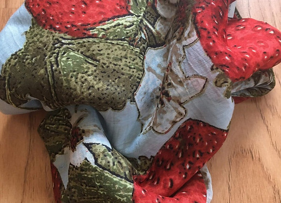 Strawberry/Leaf Print Scarf