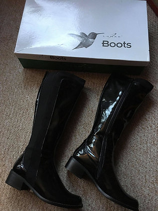 Patent Knee Length Boots