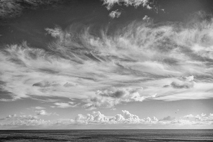 Pacific Ocean from Santa Cruz -- Black and White