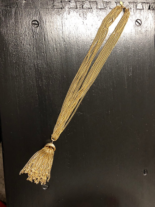 Sarah Coventry 6-Strand Removable Gold Tassel Pendant Necklace