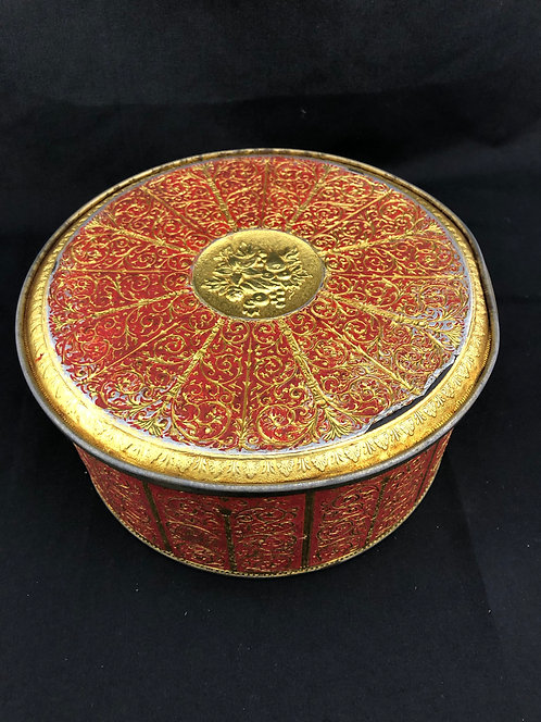 Vintage Guildcraft Red and Gold Tin