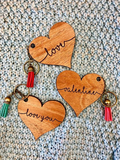 Wooden Heart Key Chain with Tassel