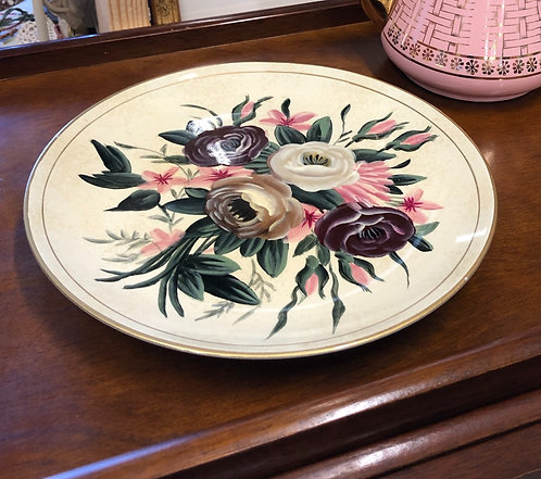 Purple and Pink Painted Flowers on Heavy Plate