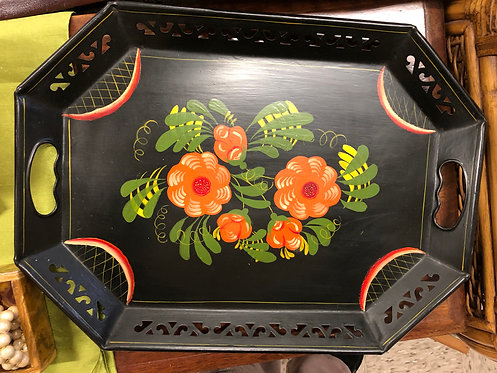 Tole-Painted Tray with Red Flowers