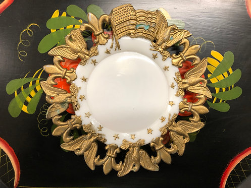 Milk Glass Plate with Gold Fleur-de-Lis, Eagles, and Flag