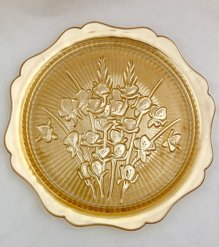 1930s Jeannette Depression Glass Iris and Herringbone Plate/Platter