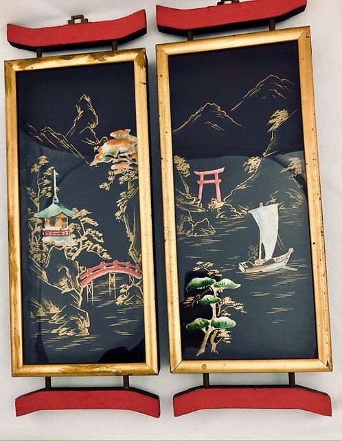 Vintage Asian Framed Pictures