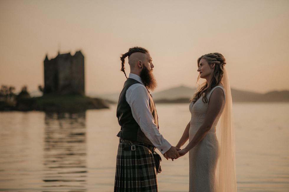 Erin and David's beautiful sunset wedding at Castle Stalker. Photography Mihaela Bodlovic