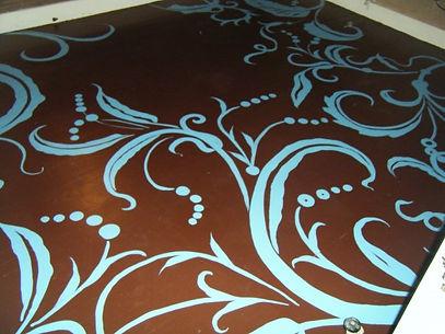 painted scroll work on floor