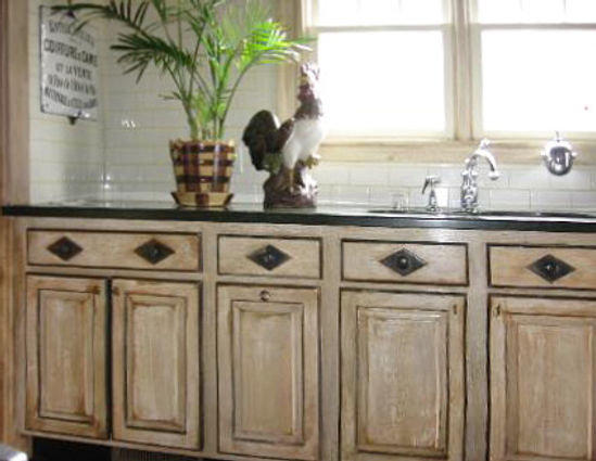 distressed painted kitchen cabinets-edit