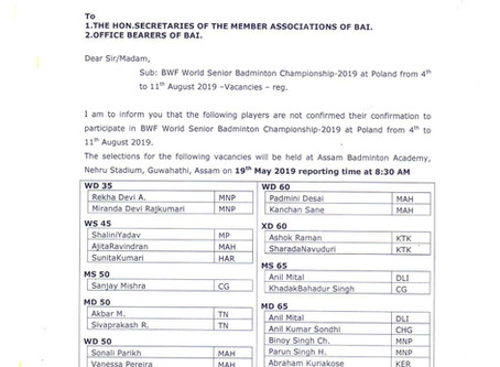 BAI Circular for selection trails of vacancies to participate in BWF Senior Badminton Championship