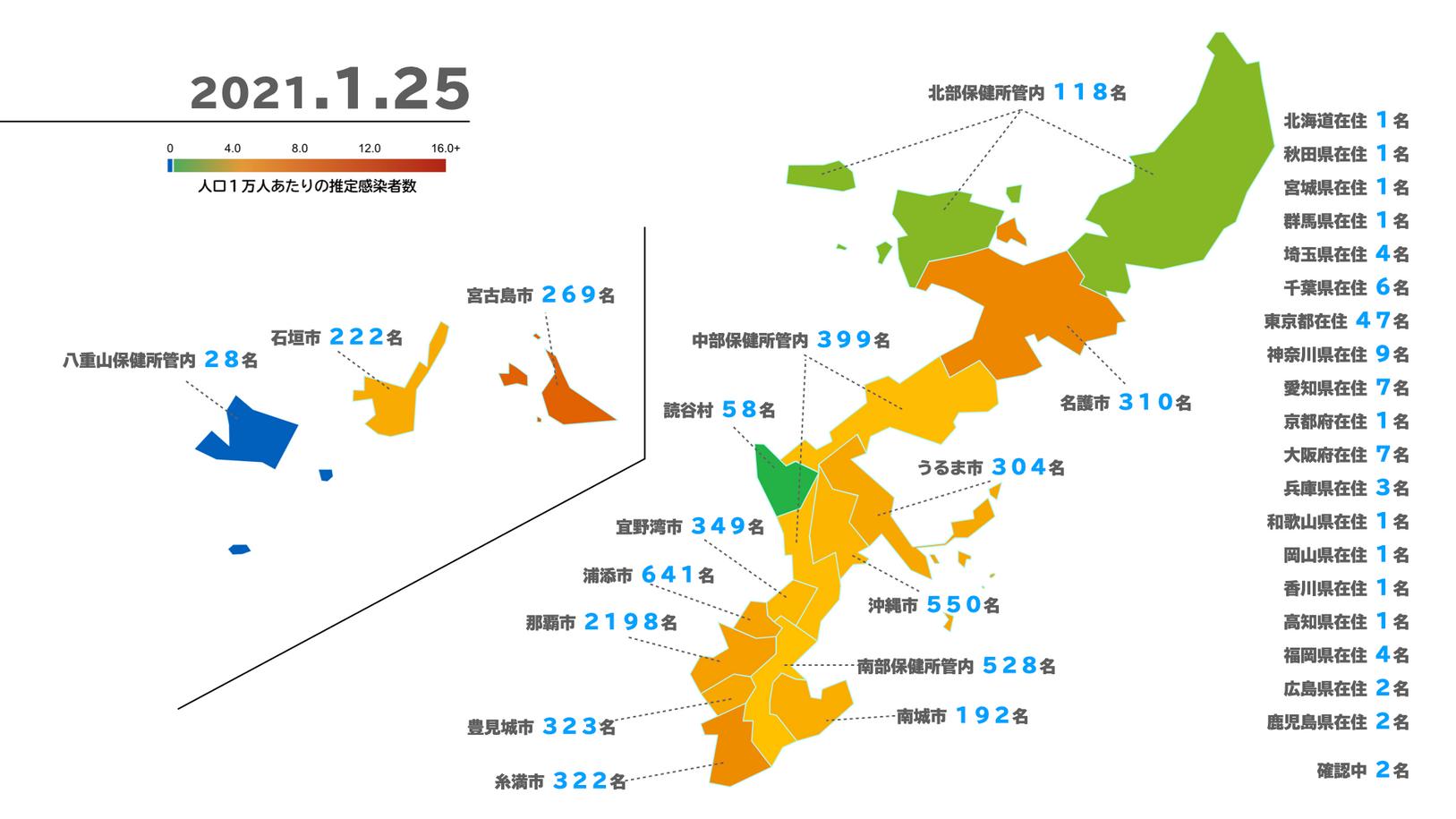 沖縄県新型コロナウイルス感染者マップ(2021/1/25 時点)