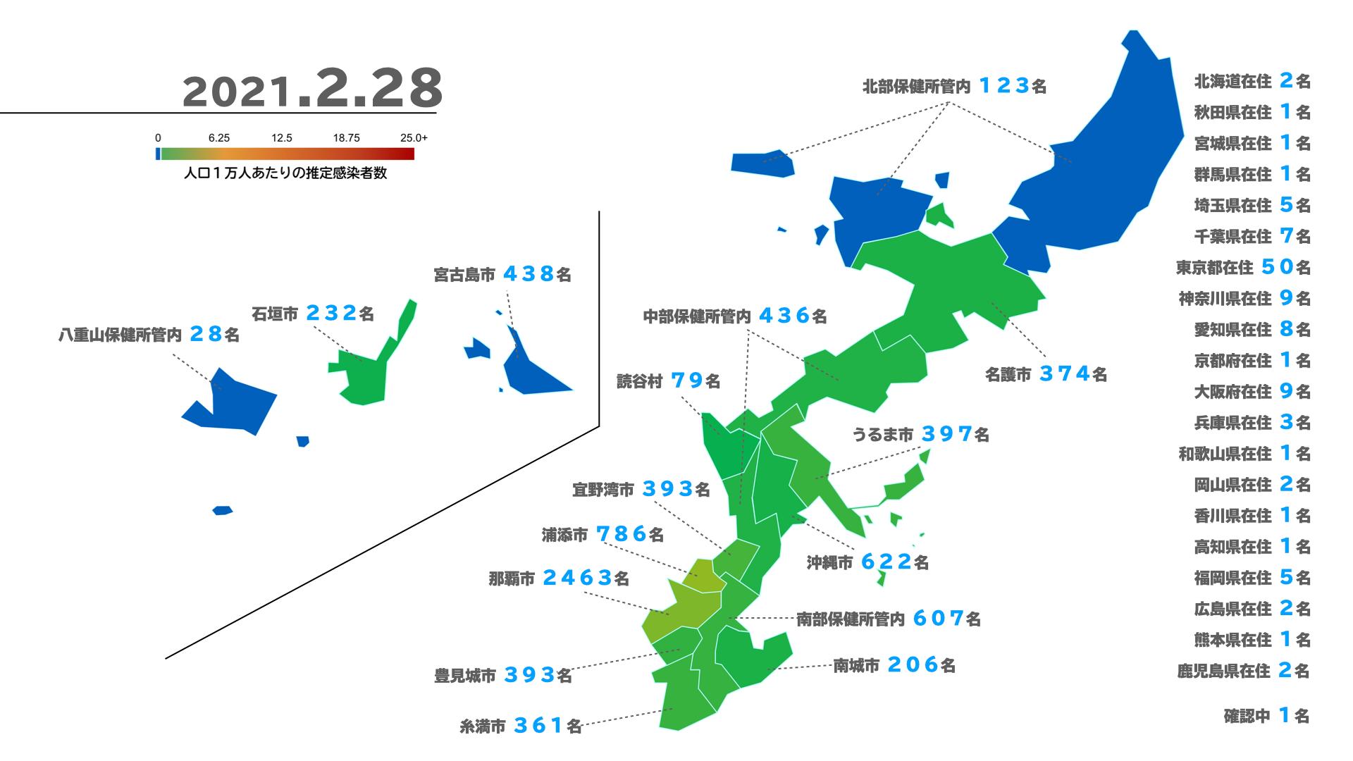 沖縄県新型コロナウイルス感染者マップ(2021/2/28 時点)