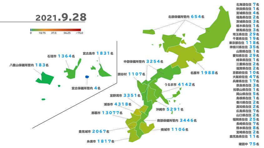 沖縄県新型コロナウイルス陽性者マップ(2021/9/28 時点)