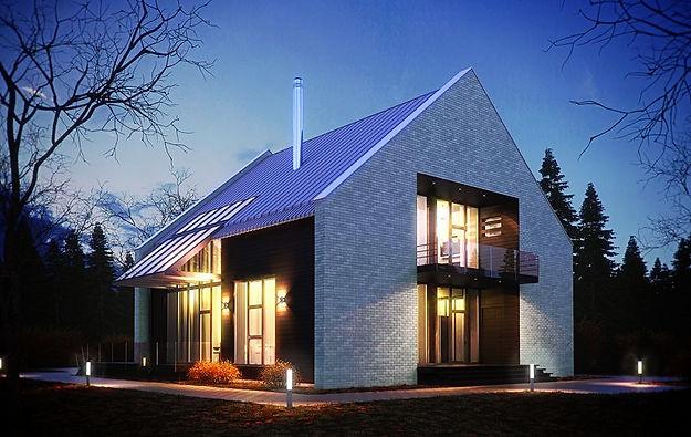 Кирпичный дом в стиле модерн с панорамным остеклением. Строительство кирпичных домов в Калуге и Калужской области.