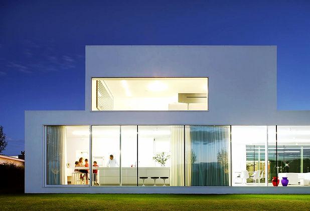 Дом из газоблока (пеноблока) в стиле модерн с панорамным остеклением. Строительство домов из газоблока (пеноблока) в Калуге и Калужской области.