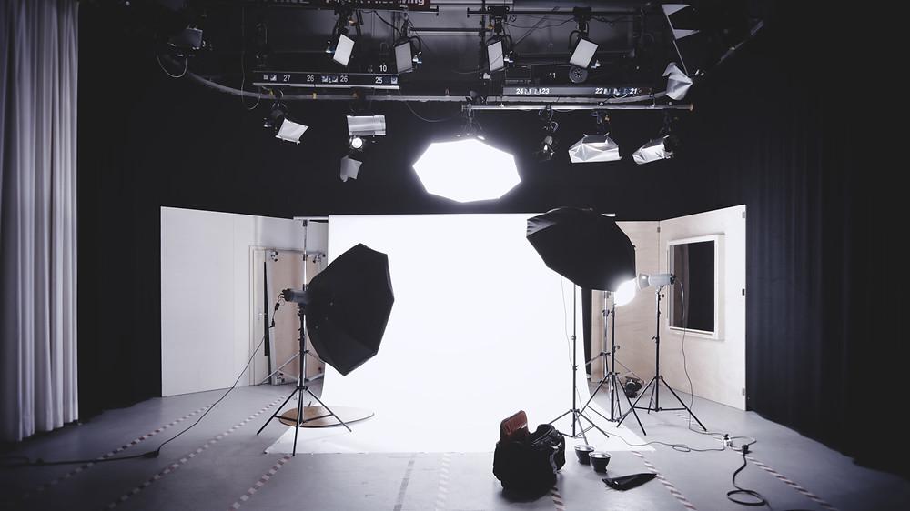 Iluminação para gravação de vídeos.