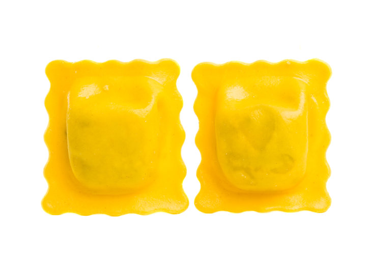 square ravioli isolated on white backgro