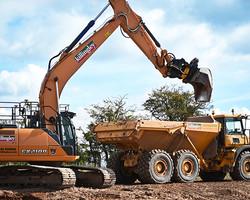 CASE Excavator emptying its bucket