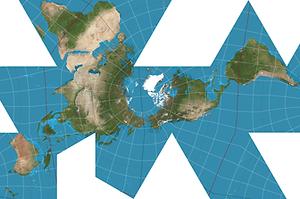 Dymaxion projection earth globe