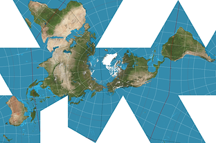 Dymaxion projection earth globe
