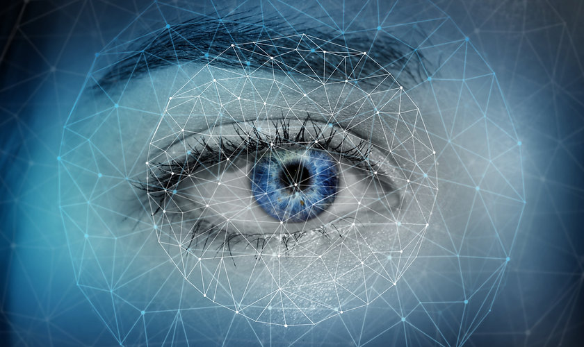 Close-up of woman digital eye with dot n